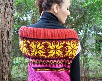 burst of colors vest PDF pattern,knitting pattern, vest pattern, knitted vest pattern,knit vest pattern, womans vest pattern