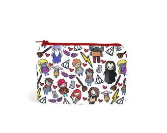 CHOOSE SIZE Harry Potter Doodles Zipper Pouch / Snape Luna Dobby Dumbledore Hagrid / Make Up or Coin Pouch