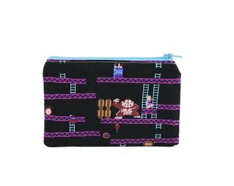 CLEARANCE Donkey Kong Bag / NES Nintendo Accessory Zippered Pouch / Mario Princess Peach Make up Bag