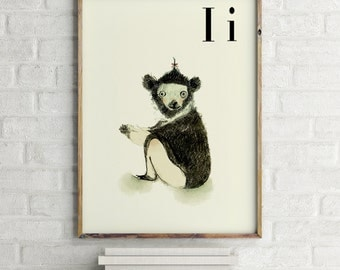 INDRI print, nursery animal print, safari nursery, alphabet letters, abc letters, alphabet print, animals prints for nursery