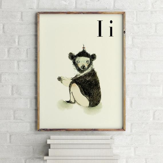 INDRI print, nursery animal print, safari nursery, alphabet letters, abc letters, alphabet print, animals prints for nursery