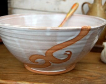 Large Serving Bowl in Shale with Rust Waves - Made to Order