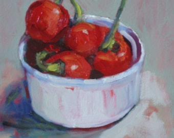 Still Life Oil Painting:  Sweet Red Peppers 6 x 6