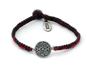 Unisex Gate Opening New Beginnings Silver Coin Amulet on Handwoven Bracelet with Red String