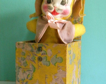 Vintage Easter Bunny Jack in the Box Rabbit with Cloth Face and Squeaker