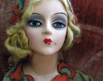This is RESERVED on LAYAWAY-Antique 3 Foot Long Flapper Bed Doll with Real Eyelashes and Amazing Costume Original 1920's