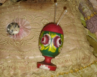Vintage Hand Painted Wooden Egg Cup Pincushion