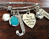 Gifts for Mom, Gifts for Grandma, Mother daughter jewelry, BANGLE bracelet, initial jewelry, Mother's Day, charm bracelet, mother son gift