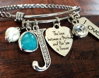 Gifts for Mom, Gifts for Grandma, Mothers Day gift, Mother daughter jewelry, BANGLE bracelet, initial jewelry, charm bracelet, mother son