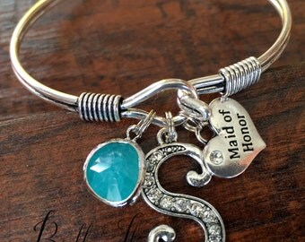 Maid of honor gift, matron of honor, BRIDESMAID gift, rehearsal dinner gift, bangle bracelet, INITIAL bracelet thank you standing by my side