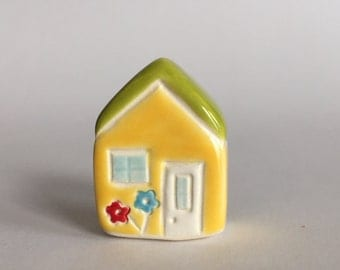 Little flower House Collectible Ceramic Miniature Clay House yellow green