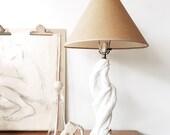 Vintage Faux Bois Lamp - ceramic, folk modern, boho