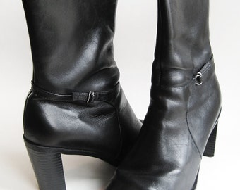"""Vintage Black Leather Ankle Boots – Women's sz 8.5 Heel Height 3"""""""