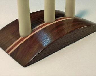 Convex Candle Holder in Walnut, Maple and Mahogany