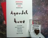 Agoudal Meteorite LOVE Agoudal Souvenir Card with Rare Genuine Heart Shaped Agoudal Outer Space Rock Gift Set