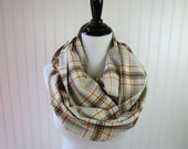 Orange Plaid Scarf -Plaid Scarf - Gray Flannel Scarf - Plaid Infinity Scarf - Circle Scarf - Autumn Scarf