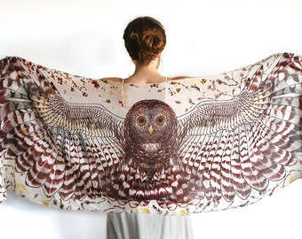 Animal Scarf, Mens Scarf, Burning Man Clothing, Bridal Accessories, Nursing Scarf, Owl Clothing, Hippie Clothes, Festival Clothes