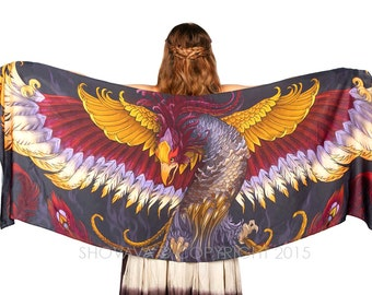 Phoenix Scarf, Fantasy Art, Cosplay Clothing, Wing Scarf, Elven Clothing, Celtic Art, Bridesmaid Gift, Wearable Art Scarf, Goddess Clothing