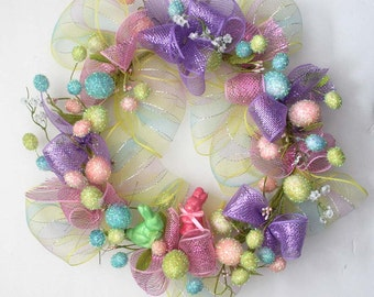 Easter eggs spring wreath, Spring wreath for front door, Spring decor, Easter wreath, gift, deco mesh