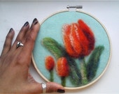 "SALE Embroidery Hoop Art Orange Tulips Flowers Needle Felting 6"" READY to SHIP"