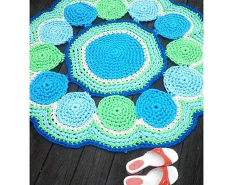 """Circles Off White, Green and Blues Patio Porch Cord Crochet Rug 48"""""""