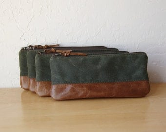 Pencil Pouch in Evergreen Waxed Canvas and Leather // Zipper Case