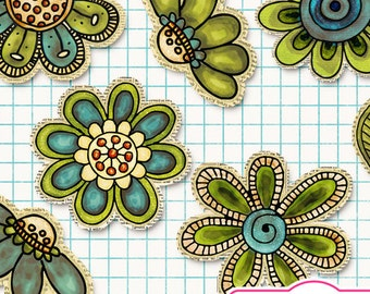 Mixed media clipart water color flower doodles cliparts, leaves, hand drawn, commercial use, instant download