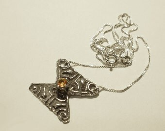 Geometric Pendant Necklace Set with Golden Sapphire in Solid Sterling Silver