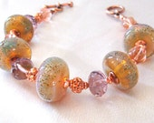 Lampwork Glass Bead Bracelet, Art Glass Beads, Iridescent Dawn to Sunset Colors with Copper Accents, One of a Kind Bracelet