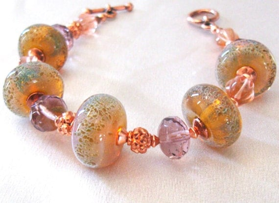 lwork glass bead bracelet glass to sunset