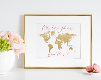 World Map Wall Art, Pink Gold Oh the Places You'll Go World Map Poster Print, Gold Glitter Wold Map Wall Art Print, Nursery Kids Home Decor