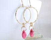 Gold Earrings Gold Hoop Earrings Crystal Dangle Earrings Gold Crystal Earrings Gift For Women Holiday Gift For Her