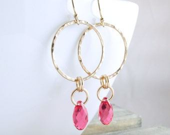 Gold Earrings Gold Hoop Earrings Crystal Dangle Earrings Gold Crystal Earrings Gift For Women Holiday Gift For Her