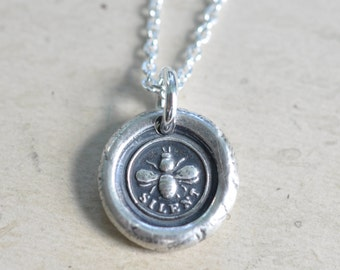 bee wax seal necklace … be silent - industrious, hardworking, loyal - silver Victorian trinket wax seal jewelry