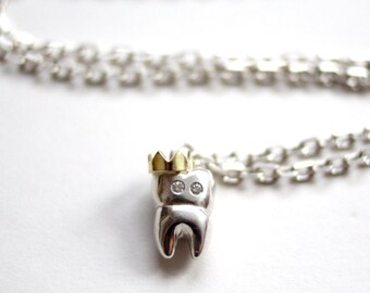 Tooth Necklace, Sterling Silver Tooth Pendant, Sterling Silver Necklace, Gold Crown, Crowned Tooth, Diamond Eyes, Handmade in UK