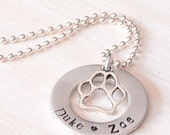 Hand Stamped Jewelry, Personalized Jewelry, Dog Names Necklace, Mama Necklace, Dog Paw Charm, Dog Owner, Gift for Dog Owner, Gift for Mom