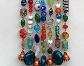 Wind Chime with Lampwork Glass Beads and Bells, Patio / Yard Art