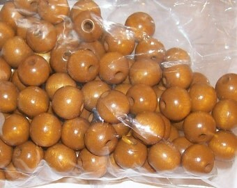 10MM Toffee Wood Beads - 100 Pieces