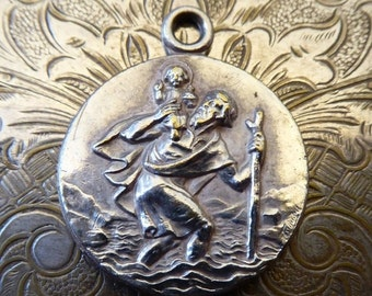 HUGE SALE Vintage Silver Saint Christopher Medal, Be My Guide And Protect Me, Automobile Car With Tree, Protector And Patron Of Travelers On