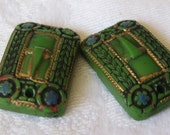 Set of 2 VINTAGE Painted Buckle Green Glass Cabochon BEAD Trims