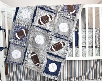 Custom Crib Set, Vintage Sports Crib Size Rag Quilt, Bumpers, Skirt, Sheet - Football, Baseball Baby Boy Nursery Bedding - Navy Blue, Gray