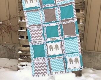 Elephant Crib Bedding Baby Boy Nursery Rag Quilts - Turquoise / Gray Crib Bedding Safari Nursery Decor - Jungle Nursery Flannel Baby Blanket