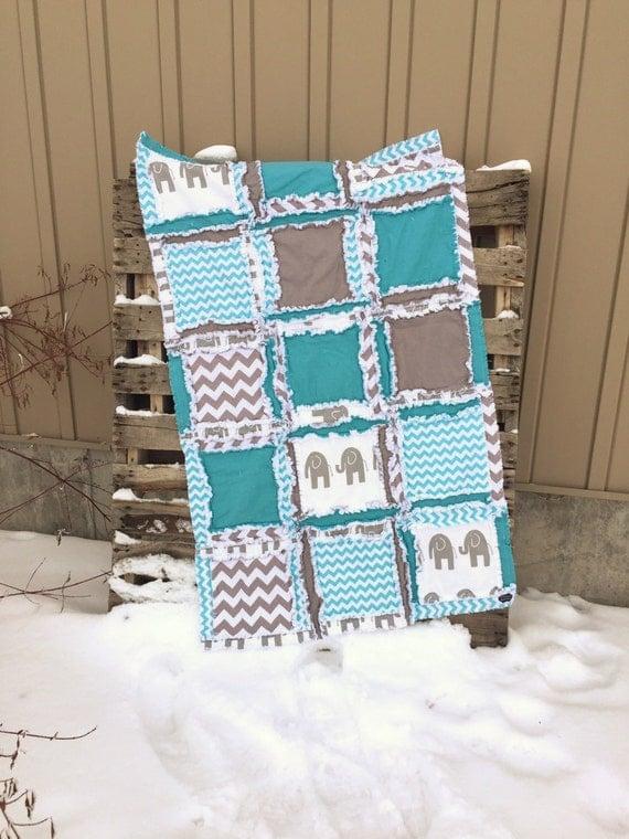 Baby Boy Cribs: Elephant Crib Bedding Baby Boy Nursery Rag Quilts Turquoise