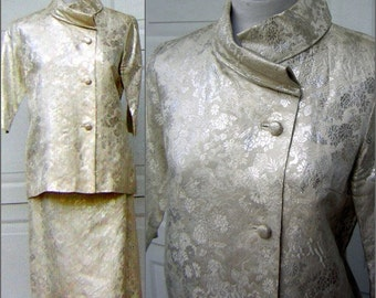 Ivory & Silver Brocade Dress Suit Vintage 60s Mother of the Bride or Honeymoon Elopement Asian HONG KONG Custom Tailored - Bust 39""
