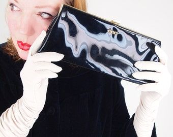60s Black Patent Leather Clutch Bag