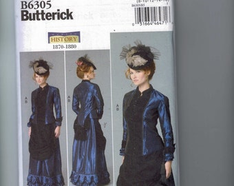 Misses Sewing Pattern Butterick B6305 6305 Making History Victorian 1870 1880 Bustle Dress Costume Historical Size 8-16 or 16-24 UNCUT