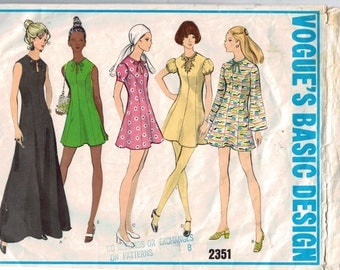 1970s Vintage Sewing Pattern Vogue 2351 Misses Princess Seam Mini Dress Size 14 Bust 36 70s