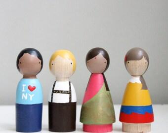 Wooden Peg Dolls // Children of the World // Educational Toys International Dolls Multicultural Fair Trade Toys