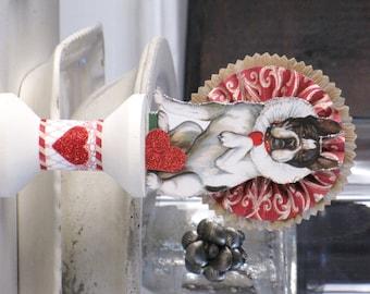 Vintage Inspired Valentine's Day Victorian Love's Messenger Bulldog Dog Standing on a Spool Rosette Valentine