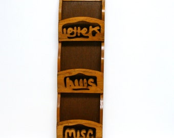 Vintage Wooden Hanging Mail Organizer with Key Hooks